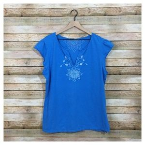 Athleta Embroidered V Neck Tee – Blue – 2X
